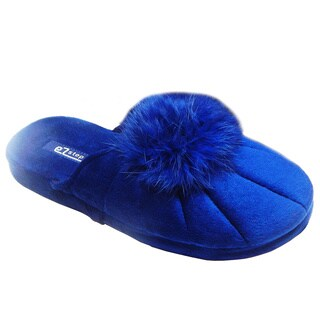 Vecceli Womens Blue Fluffy Pom Pom Velvet Slippers