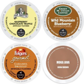 Flavored K-Cup Coffee Sampler with Green Mountain Van Houtte Folger's & Faro (96 Count)