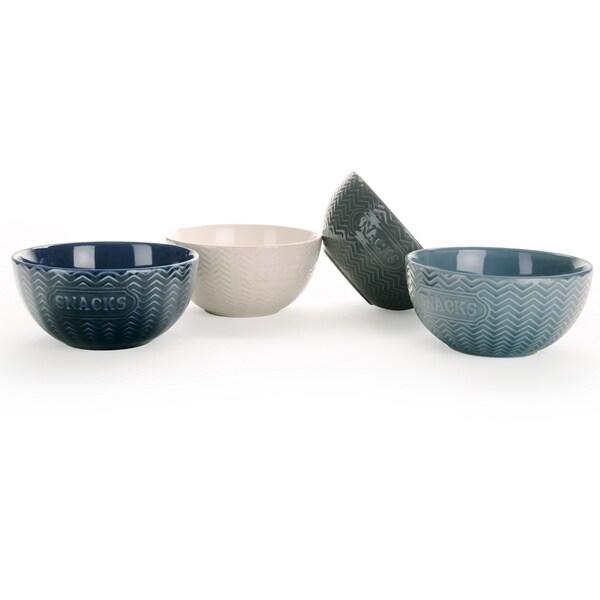 Signature Housewares Set of 4 Embossed Snack Bowls