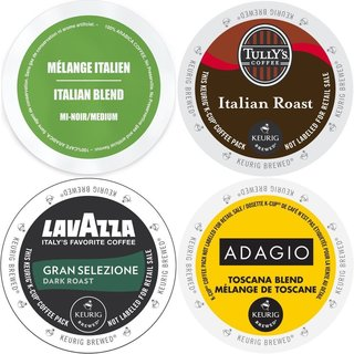Italian Roast K-Cup Coffee Variety Pack with Adagio Faro Lavazza and Tully's (96 Count)