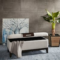 Madison Park Asher Heather Grey Storage Bench