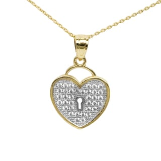 14k Two-tone Gold Cubic Zirconia Heart-Shaped Lock Necklace