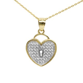 14k Two-tone Gold Cubic Zirconia Heart-Shaped Lock Necklace - Yellow