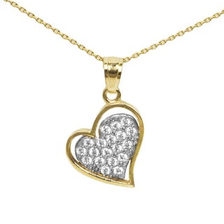 14k 2-tone Gold and Cubic Zirconia Heart Necklace - Yellow