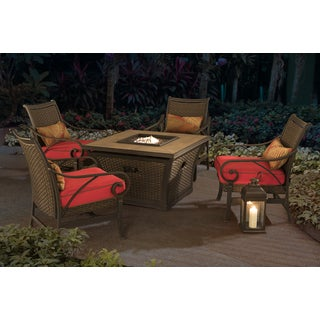 Sunjoy Cald LP Firepit 5-piece Chat Set