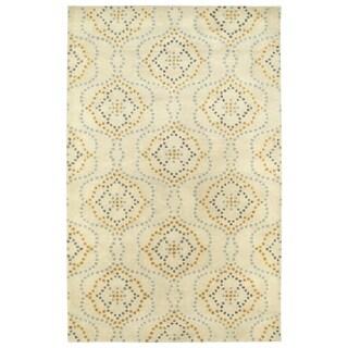 "Hand-Tufted Lola Mosaic Beige Cobblestone Wool Rug - 5' x 7'9"""
