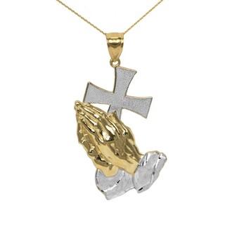 10k Two-tone Gold Prayer Pendant