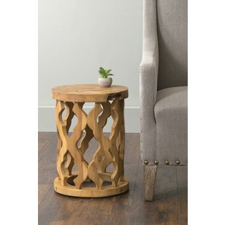 East At Main's Lenox Brown Round Teakwood Accent Table