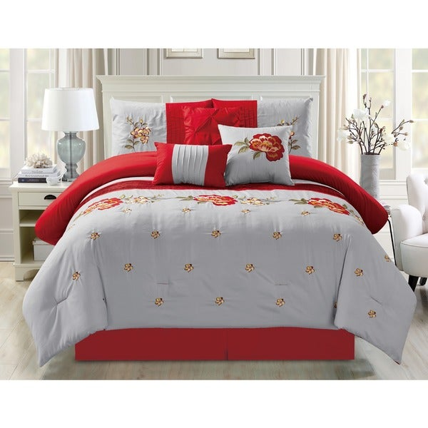 Breeze 7-piece Embroidered Floral Comforter Set