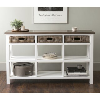 East At Main's Dillman White Rectangular Mahogany and Rattan Sideboard
