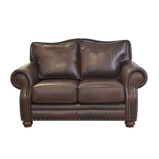 Made to Order Westford Genuine Top Grain Leather Nailhead Trimmed Loveseat