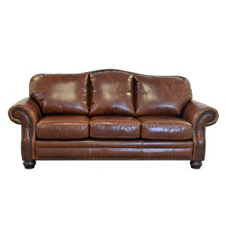 Made to Order Parker Genuine Top Grain Leather Nailhead Trimmed Sofa