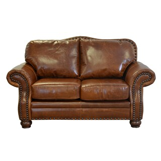 Made to Order Parker Genuine Top Grain Leather Nailhead Trimmed Loveseat