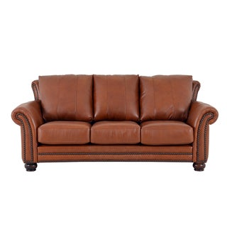 Made to Order Clinton Genuine Top Grain Leather Nailhead Trimmed Sofa