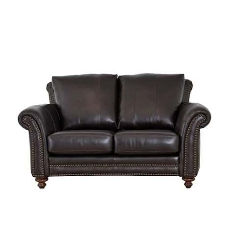 Made to Order Clinton Genuine Top Grain Leather Nailhead Trimmed Loveseat