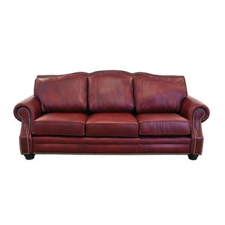 Made to Order Winchester Genuine Top Grain Leather Nailhead Trimmed Sofa