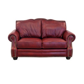 Made to Order Winchester Genuine Top Grain Leather Nailhead Trimmed Loveseat