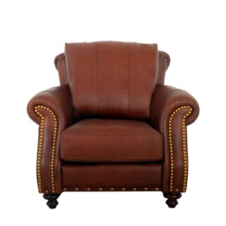 Made to Order Randolph Genuine Top Grain Leather Nailhead Trimmed Armchair