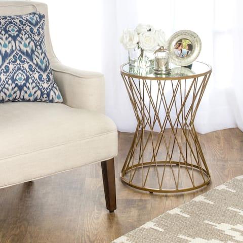 HomePop Hourglass Metal Accent Table Gold Mirror Top