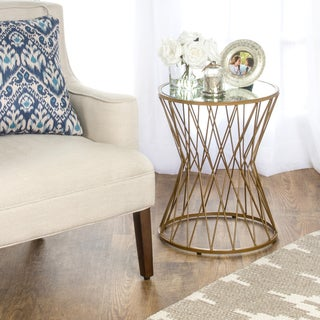 HomePop Hourglass Metal Accent Table Gold Mirror Top