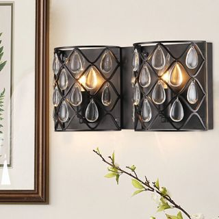 Carovel Metal and Glass 2-light Wall Sconce