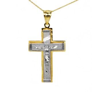 10k Two-tone Fancy Crucifix Pendant