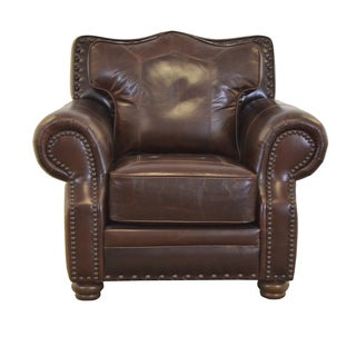 Westford Genuine Top Grain Leather Nailhead Trimmed Armchair