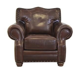 Westford Genuine Top Grain Leather Nailhead Trimmed Armchair