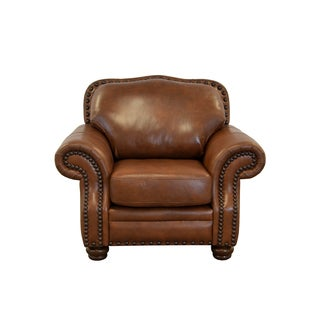 Parker Genuine Top Grain Leather Nailhead Trimmed Armchair