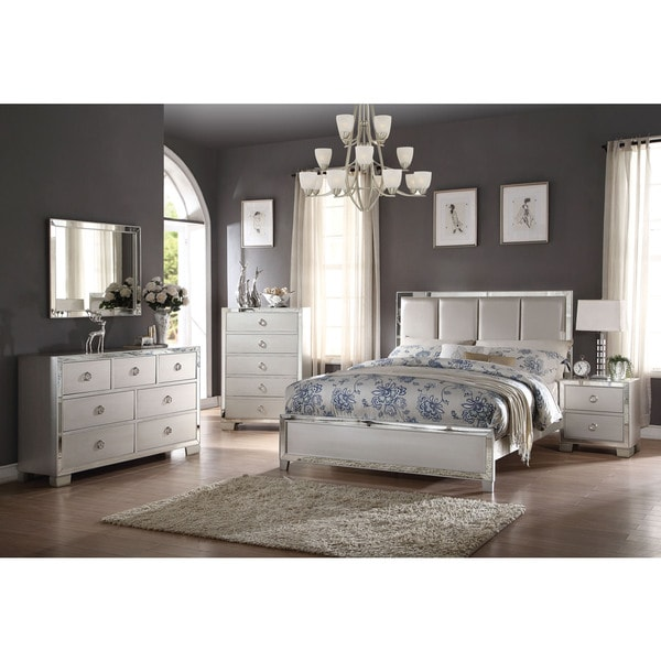 acme furniture bedroom sets. Acme Furniture Voeville II 4 Piece Bedroom Set  Matt Gold PU and Platinum