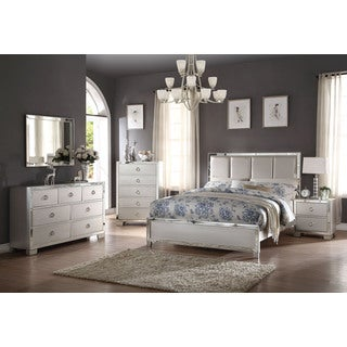 Acme Furniture Voeville II 4-Piece Bedroom Set, Matt Gold PU and Platinum