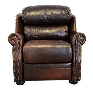 Beacon Genuine Top Grain Leather Bustle Back Nailhead Trimmed Armchair