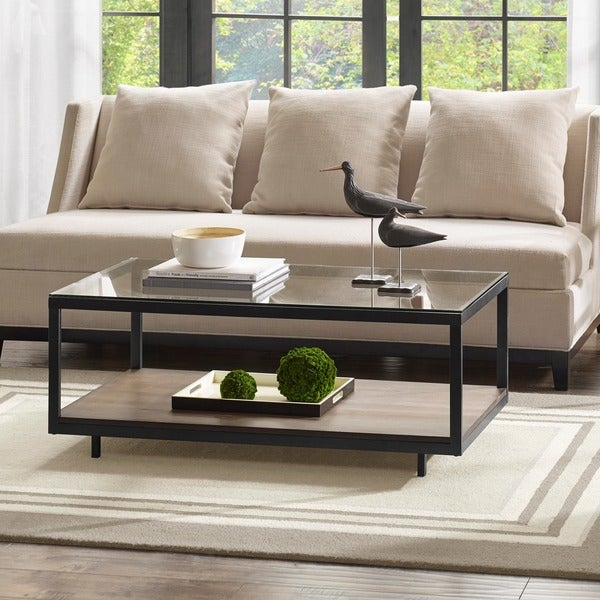 "Madison Park Leo Iron/ Walnut Coffee Table - 44""w x 22""d x 17.375h"""