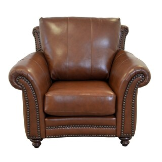 Made to Order Clinton Genuine Top Grain Leather Nailhead Trimmed Armchair