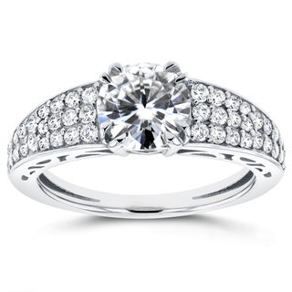 Annello by Kobelli 14k White Gold 1 2/5ct TCW Moissanite and Diamond Pave Engagement Ring (G-H, I1-I2)