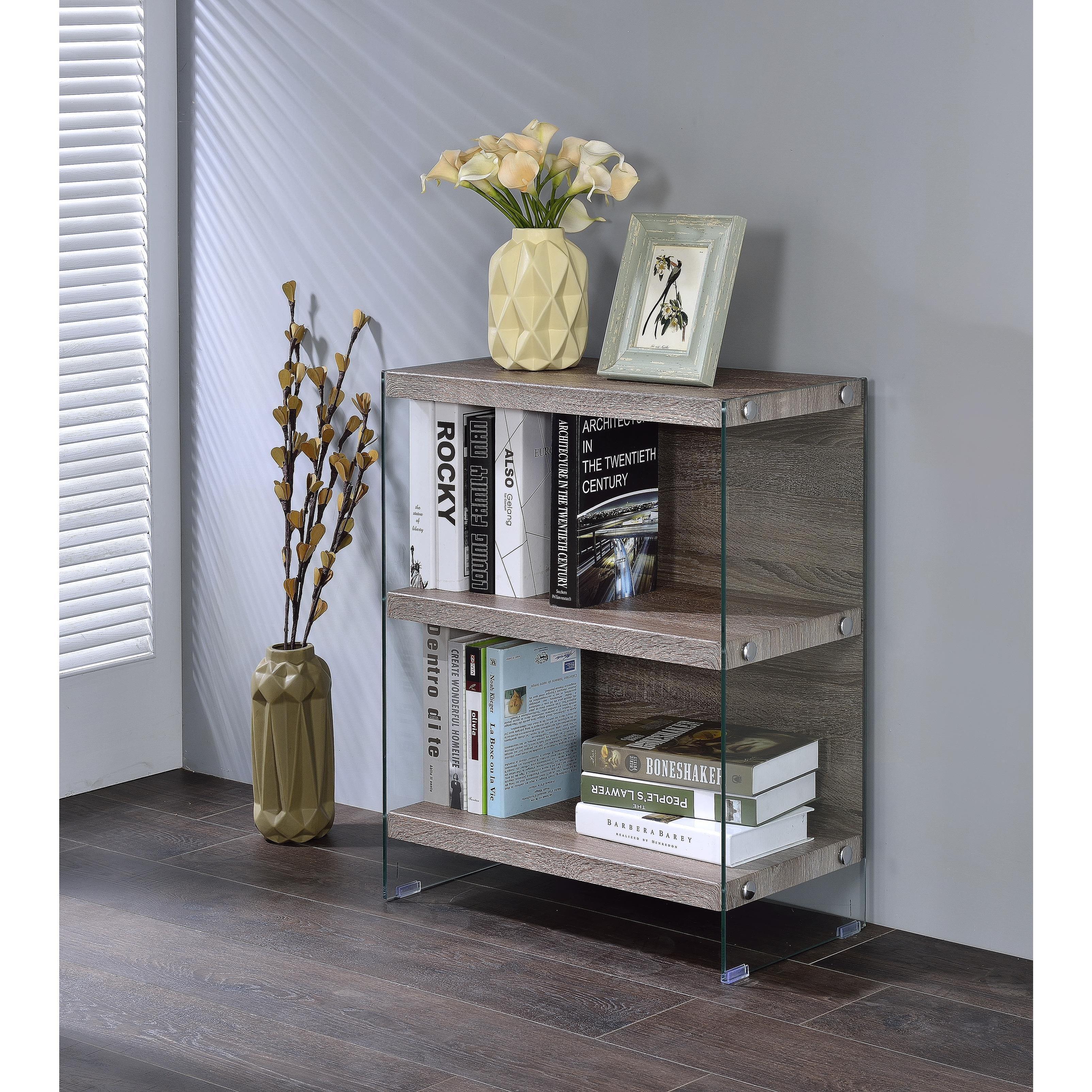 Acme Furniture Armon Glass Bookshelf Grey Oak