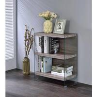 Acme Furniture Armon Glass Bookshelf, Grey Oak