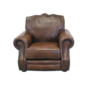 Winchester Genuine Top Grain Leather Nailhead Trimmed Armchair