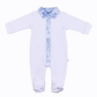 Briobebe Boys' Liberty Fabrics White and Blue Cotton Jumpsuit