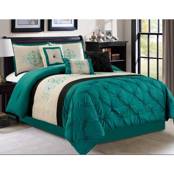 Teal and Ivory 7-piece Embroidered Pintuck Comforter Set