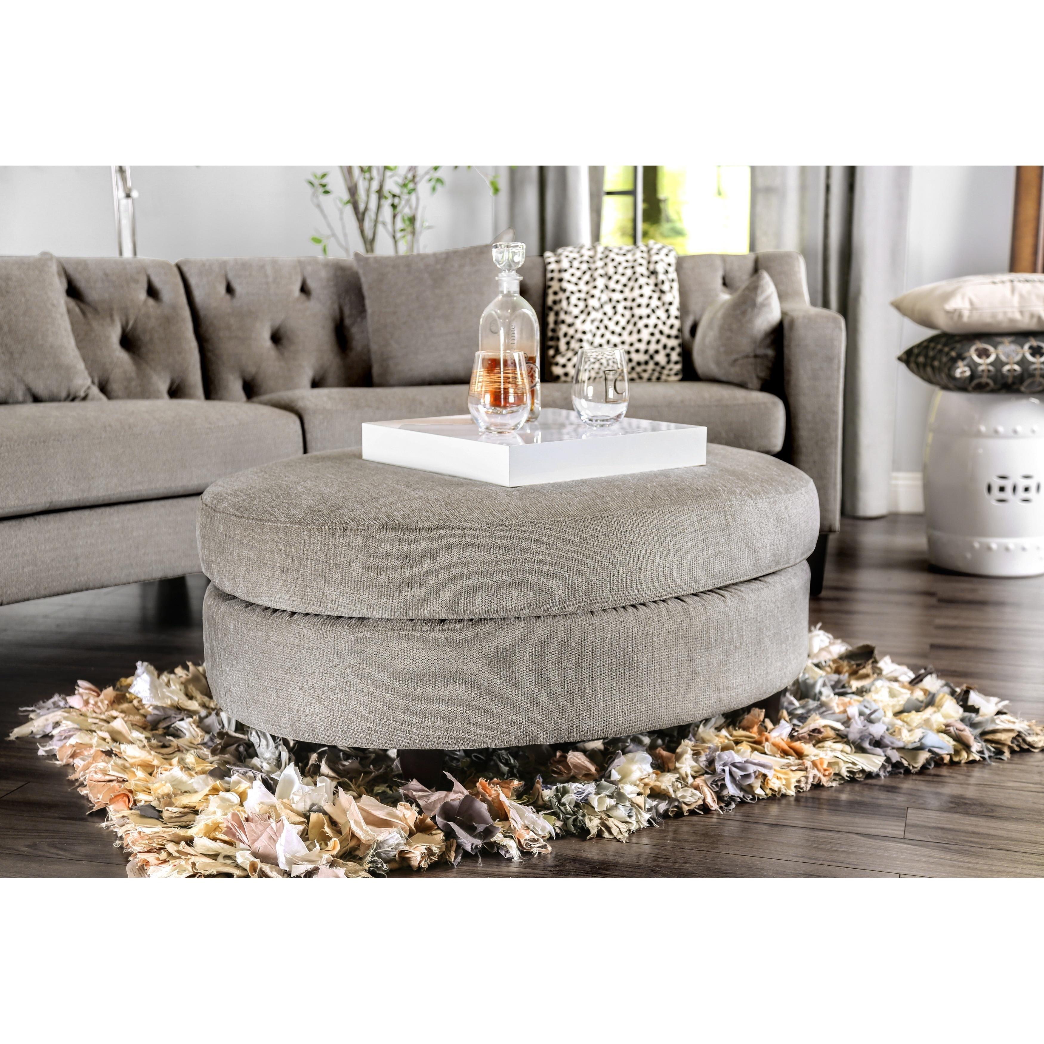 Furniture of America Aretha Contemporary Grey Oval Ottoma...