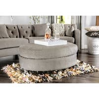 Furniture of America Aretha Contemporary Grey Oval Ottoman