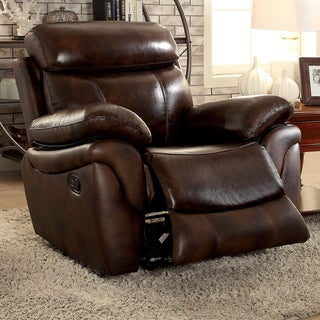Furniture of America Wack Contemporary Brown Leather Padded Recliner