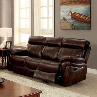 Furniture of America Hazen Brown Top Grain Leather Match Padded Reclining Sofa
