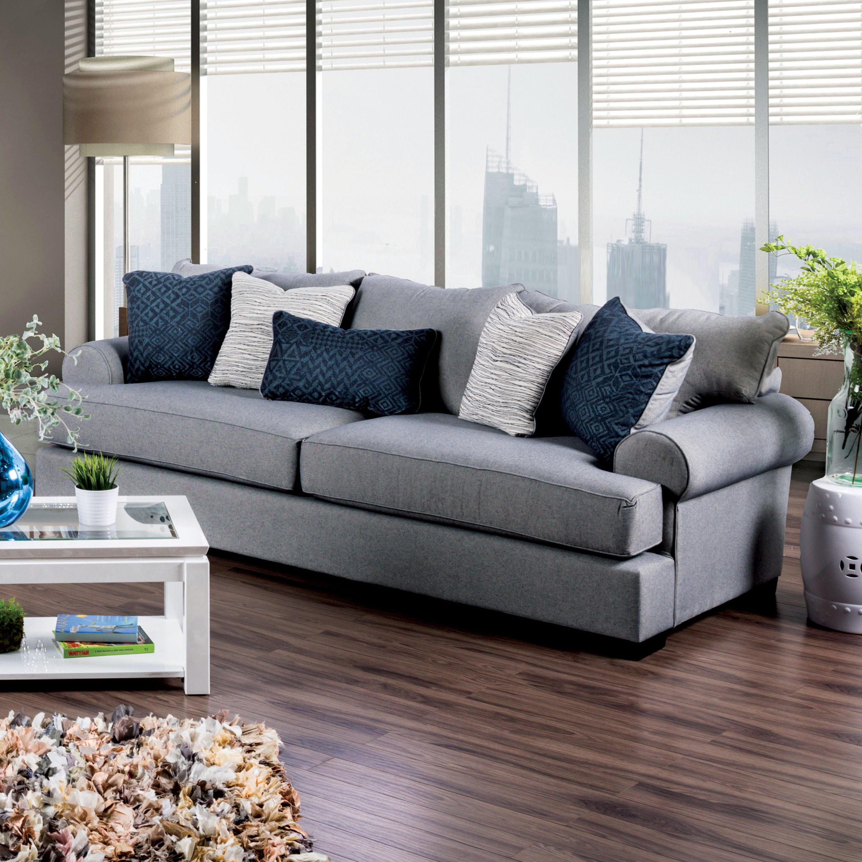 Furniture of America Renee Welt Trim Rolled Arm Premium F...