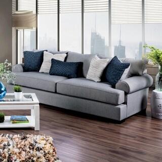 Furniture of America Renee Welt Trim Rolled Arm Premium Fabric Sofa