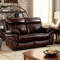 Furniture of America Hazen Brown Top Grain Leather Match Padded Reclining Loveseat