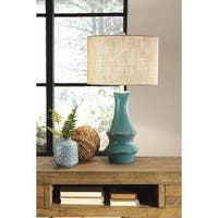 Signature Design by Ashley Jenci Antique Teal Ceramic Table Lamp