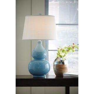 Signature Design By Ashley Saffi Light Blue Ceramic Table Lamp