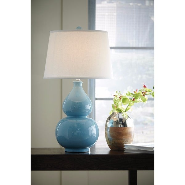 Shop Signature Design By Ashley Saffi Light Blue Ceramic Table Lamp